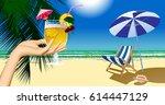 woman's hand holding a fruit... | Shutterstock .eps vector #614447129