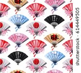 hand fan in different colors... | Shutterstock .eps vector #614449505