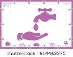 water faucet  drop and hand... | Shutterstock .eps vector #614463275