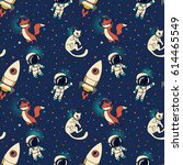cosmic seamless pattern  cute... | Shutterstock .eps vector #614465549