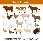 farm animals collection with... | Shutterstock .eps vector #614465669