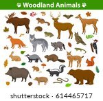 woodland forest animals birds... | Shutterstock .eps vector #614465717
