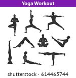 yoga workout. silhouettes of a... | Shutterstock .eps vector #614465744