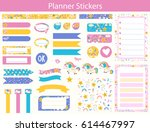 set of planner stickers with... | Shutterstock .eps vector #614467997