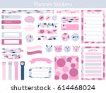 collection of planner stickers... | Shutterstock .eps vector #614468024