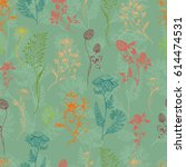 vector seamless floral meadow... | Shutterstock .eps vector #614474531