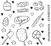 doodle candy various style hand ... | Shutterstock .eps vector #614481419