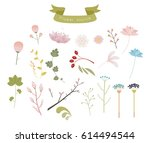 flower and leaf decoration... | Shutterstock .eps vector #614494544