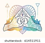 heart shape gesture with a... | Shutterstock .eps vector #614511911
