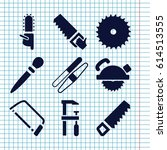 set of 9 saw filled icons such... | Shutterstock .eps vector #614513555