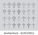 crosses outline icons | Shutterstock .eps vector #614514011