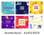 memphis style 6 cards.... | Shutterstock .eps vector #614515019