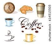 vector set of coffee cups ... | Shutterstock .eps vector #614515505