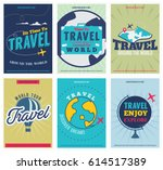 travel  colored  posters set.... | Shutterstock .eps vector #614517389