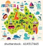 illustration with australia... | Shutterstock .eps vector #614517665
