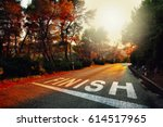 Small photo of Sunset countryside asphalt road with finish line message on the floor.