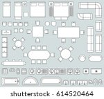 top view interior with line... | Shutterstock .eps vector #614520464