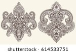vector set of henna floral... | Shutterstock .eps vector #614533751