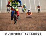 bmx riders competing in the... | Shutterstock . vector #614538995