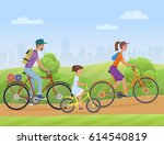 young family with girl kid... | Shutterstock .eps vector #614540819