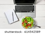 healthy business lunch in... | Shutterstock . vector #614542589
