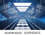 blue futuristic tunnel interior.... | Shutterstock . vector #614542631