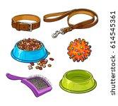 set of pet  cat  dog... | Shutterstock .eps vector #614545361