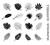 tropical leaves icon set | Shutterstock .eps vector #614545811