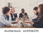 business discussion at meeting... | Shutterstock . vector #614546255