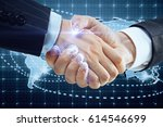 close up of handshake with... | Shutterstock . vector #614546699