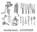 kitchen set. vector large... | Shutterstock .eps vector #614553509