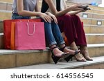 shopaholic women sitting on the