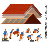 roof construction worker repair ... | Shutterstock .eps vector #614558237