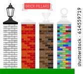 set of vector brick pillars in... | Shutterstock .eps vector #614559719
