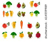 funny fruit set. cute dancing... | Shutterstock .eps vector #614559989