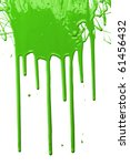 Green Paint Dripping Isolated...