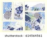universal floral cards set.... | Shutterstock .eps vector #614564561