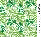 tropical palm leaves  jungle...   Shutterstock .eps vector #614564564