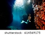 black hair mermaid swimming... | Shutterstock . vector #614569175