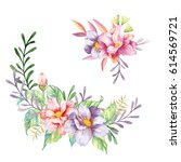 hand drawn watercolor flowers... | Shutterstock . vector #614569721