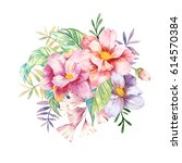 hand drawn watercolor floral... | Shutterstock . vector #614570384