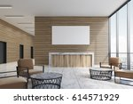 wooden reception counter is... | Shutterstock . vector #614571929