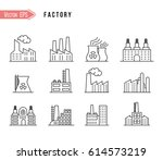 industrial building factory and ... | Shutterstock .eps vector #614573219