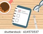 vector goals list with notebook ... | Shutterstock .eps vector #614573537