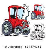 funny cartoon tractor. isolated.... | Shutterstock .eps vector #614574161