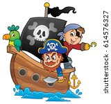 pirate boat theme 1   eps10... | Shutterstock .eps vector #614576327