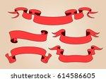 vector ribbon set. celebration... | Shutterstock .eps vector #614586605