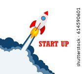 start up of the space rocket.... | Shutterstock .eps vector #614590601