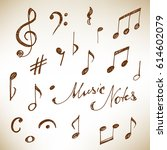 hand drawn music notes set.... | Shutterstock .eps vector #614602079