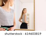 diet concept. young woman with... | Shutterstock . vector #614603819